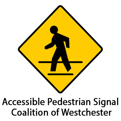 Website logo of a person walking across a street with the text Accessible Pedestrian Signal Coalition of Westchester